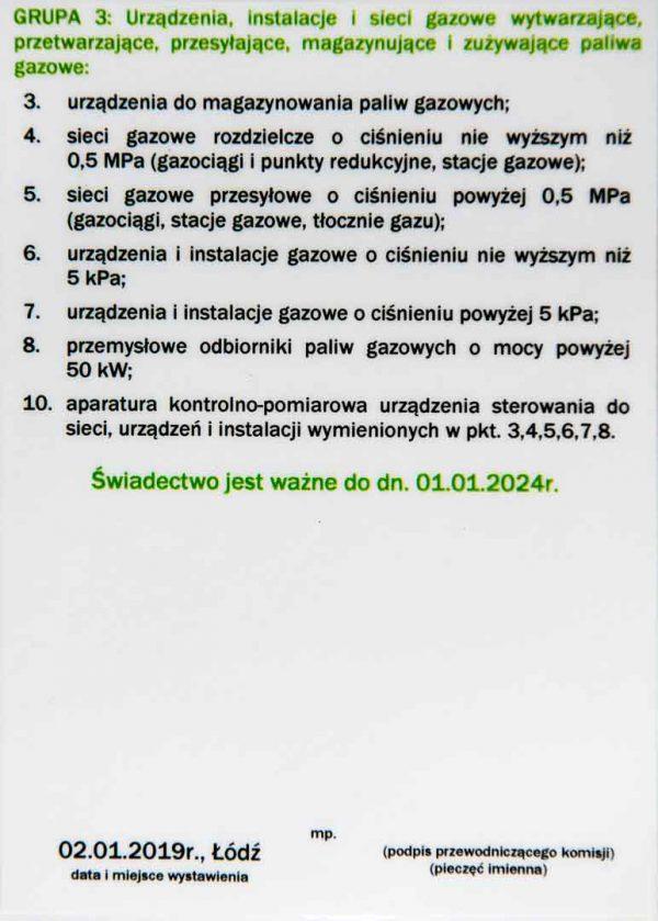 świadectwo kwalifikacyjne wzór eksploatacja grupa 3